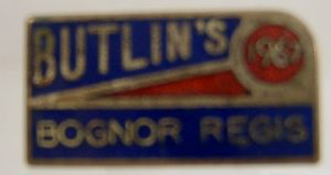 Butlins Holiday Bognor Regis Enamel Pin Badge - Blue, Yellow & Red - 1967